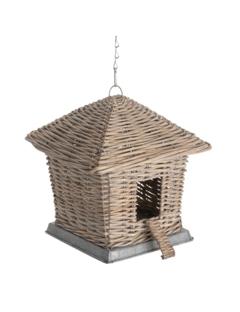 Maison nichoir pour oiseaux en osier H: 24 x 24 cm L: 28 cm avec sa chaine de 35 cm