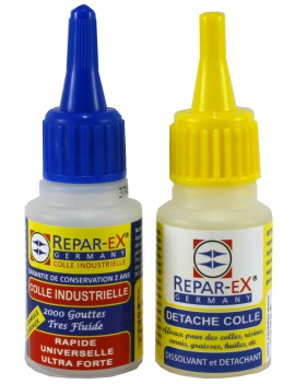 Lot de colle reparex une colle de 20 grammes et un détacheur détache colle de 20 ml Reparex