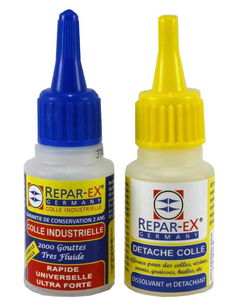 Lot de colle reparex une colle de 20 grammes et un détacheur détache colle de 20 ml Reparex