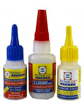 Lot de colle reparex une colle 20 grammes une poudre d'assemblage 30 grammes et un détache colle de 20 ml reparex