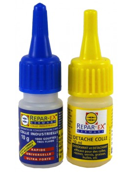 Lot de colle Repar-ex 1 flacon de 10 g de colle 1 détache colle de 10 ml