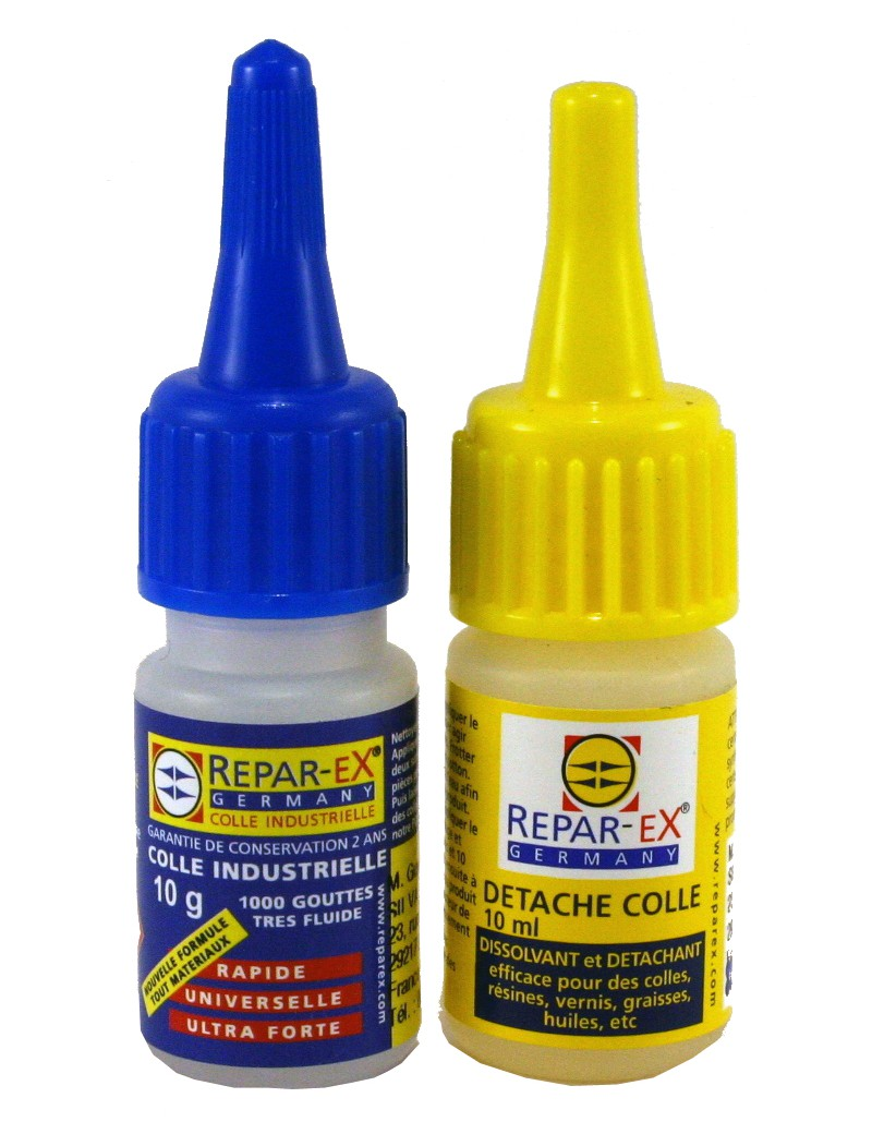 Lot de colle Repar-ex 1 flacon de 10 g de colle 1 détache colle de 10 ml