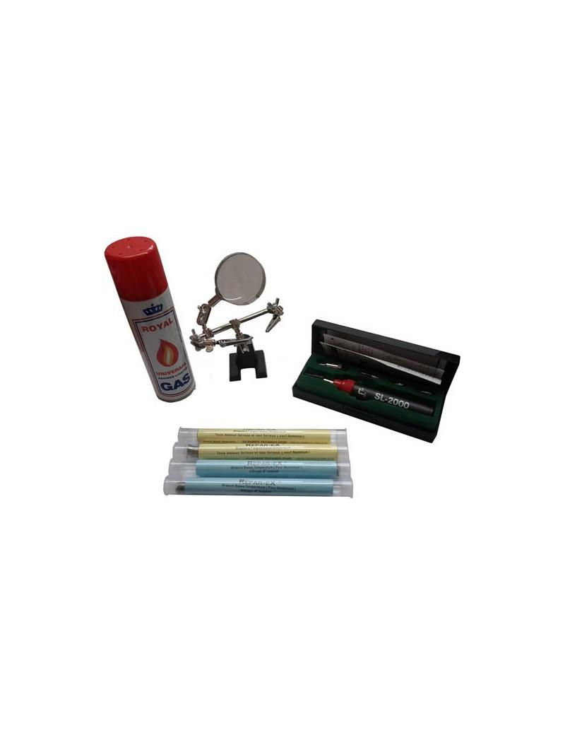 Lot micro soudeur Reparex une brasure pour aluminium une brasure pour metaux ferreux et non ferreux une canette de gaz une trois